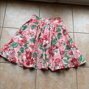 Talbots Spring Pink Floral Pleated A-Line Skirt 2